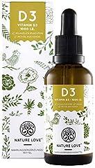 NATURE LOVE Vegan Vitamin D3 (Cholecalciferol) 1000 IU. – 25 mikrogramów. Ekstrahowane z porostów, Premium: Surowiec Witashine. Ciecz, w kroplach. Wegańskie, wysoce biodostępne & made in Germany