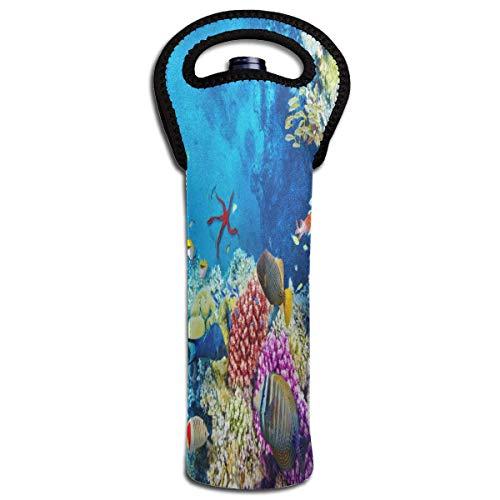Rotwein-Sets Unterwasserwelt Korallenriff Fische, schützende Champagner-Tasche, Flaschenhalter, Tasche, isoliert, gepolstert