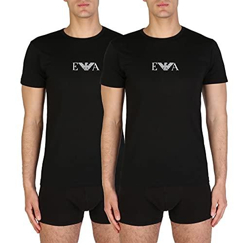 Emporio Armani, T-Shirt Uomo, set da 2 pezzi, Nero, M