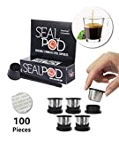 SEALPOD Reusable Nespresso Capsule, Refillable Pod Compatible with Nespresso Original Line Machine, Durable Stainless Steel, Come with Fresh Covers - 5 Pack [ 5 PODs, 100 LIDs]