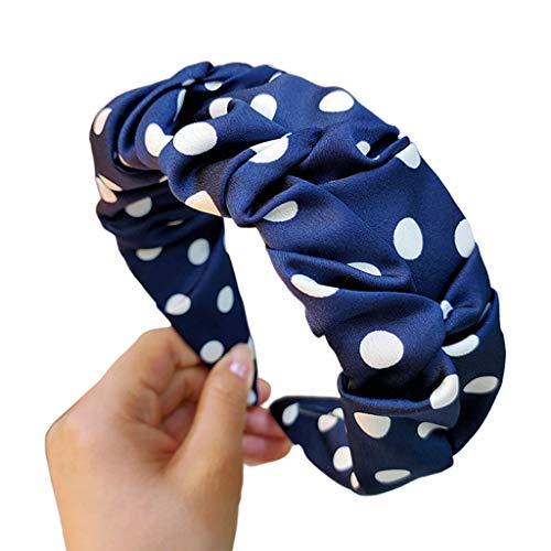 Yanhonin – Banda de pelo con borde ancho para mujer, bandana de lunares