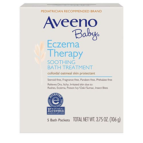 Aveeno Baby Eczema Therapy Soothing Bath Treatment for Relief of Dry, Itchy and Irritated Skin, Made with Soothing Natural Colloidal Oatmeal, 5 ct. ( Pack of 12)