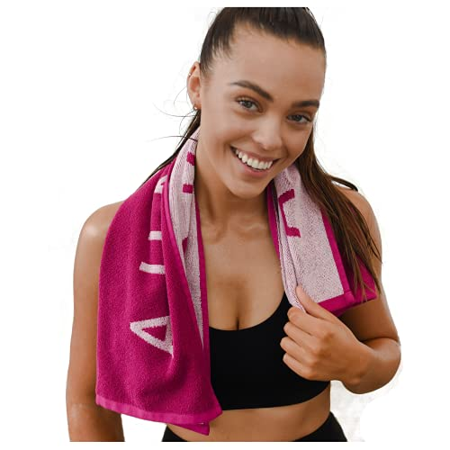 Luxury Gym Towels for Sweat - 100% Organic Cotton Soft and Absorbent Workout Towels for Gym - Silver Infused Sports Towel - Yoga and Gym Towels for Women (Fuchsia)