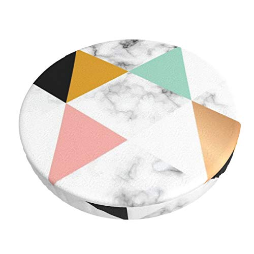 Anti-Slip Round Chairs Cover Stool Covers,Marble Texture Design With Golden Geometric Super Breathable Stretch Chair Seat Bar Soft Stool Cover Seat Cushion Slipcovers fits for 13 inch Round Lift Chair Stool