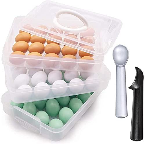 Accesorios de almacenamiento para refrigerador, bandeja de huevos de 3 capas con tapa y 2 piezas de 7 pulgadas antiadherente anticongelante para uso familiar al aire libre picnic