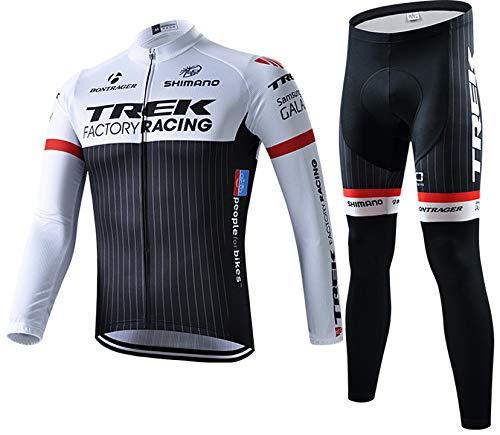 Abbigliamento Ciclismo da Uomo, Inverno Termico Vello Completo Giacca +5d Gel Pad Pantaloni Lunghi da Bicicletta (Nero, XL)