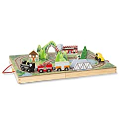 On the move: the Melissa & Doug take along railroad features built in tracks, colorful scenery, and fun play pieces that let kids take their imaginations for a spin andd take playtime anywhere they want to go So much to do: this 17 piece set includes...