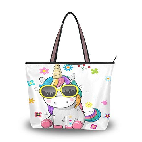 Ahomy Bolso de hombro con diseño de unicornio con gafas de sol,...