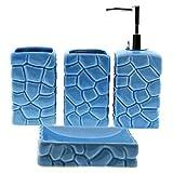 Cuco´S Nest Set de Baño de 4 Piezas de Ceramica. Conjunto de Accesorios de sobreponer para el Lavabo. Color Azul