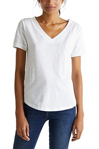 edc by ESPRIT Damen 030CC1K317 T-Shirt, 100/WHITE, S