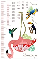 ウォールステッカー 身長計 記念 目盛り 子供部屋 フラミンゴ 鳥 動物 北欧 90×60cm シール式 装飾 おしゃれ 壁紙 はがせる 剥がせる カッティングシート wall sticker 雑貨 ガラス 窓 DIY プチリフォーム meter-015008-ds