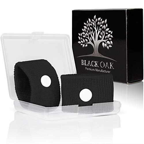Black Oak [2 Stück] Akupressur Armband - hochwertige Akupressurarmbänder gegen Übelkeit - natürliche Alternative während der Schwangerschaft | wiederverwendbar