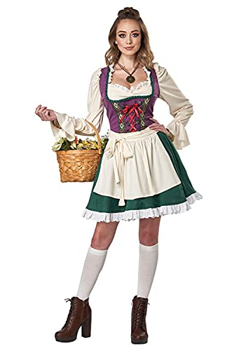 Gonriya Womens Beer Maid Costume German Bavarian Dirndl Dress for Halloween Oktoberfest Carnival