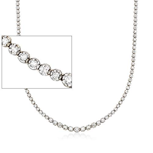 Ross-Simons 3.00 ct. t.w. Graduated Diamond Tennis Necklace in 14kt White Gold For Women 17, 20 Inch