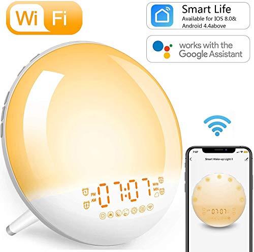 Smart wifi-weklicht, wekker, zonsopgang/zonsondergang/simulatie nachtlampje, app/Alexa-bediening, FM-radio, 4 alarmen, sluimerfunctie, 7 kleuren/natuurlijke geluiden, 20 helderheidsniveaus