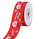 Trimming Shop Navidad Grosgrain Cinta Navidad Vacaciones Estampado Snowglake Papá Noel Listones para para Envolver Regalos, Festivo Decoración - Rojo, 25mm x 10 Yards