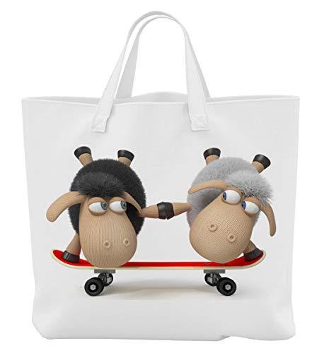 Merchandise for Fans Einkaufstasche - 45 x 42 cm x 9,5 cm, 18 Liter - - Motiv: 3D Comic Schafe auf dem Skateboard als Coole Skater - 08