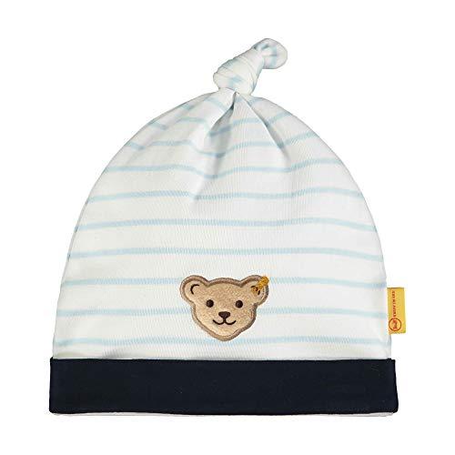 Steiff Baby-Jungen mit Streifen und Teddybärmotiv Mütze, Blau (Winter Sky 3023), 51 (Herstellergröße: 051)