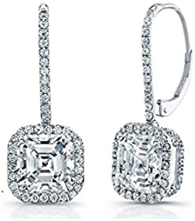 SILVER SEA EMPIRE 14K White Gold Plated 1.2Ct Asscher Cut Diamond With Pave Surrounds Drop Earrings For Women