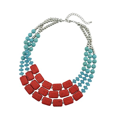 Bocar Personalized Big Statement Turquoise Chunky Necklace for Women Gifts (NK-10268-turquoise+red)