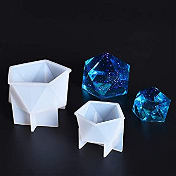 Finelnno 2pcs Silicone Resin Molds Multi-Faceted Geometric Molds Diamond Jewelry Casting Molds Epoxy Molds for Gemstone Decoration Craft DIY Making  2pcs Molds