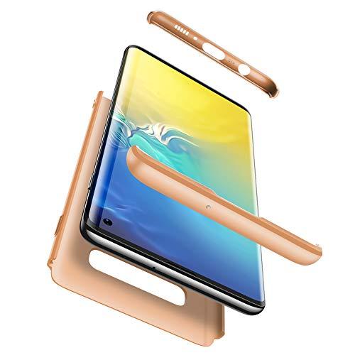 Karomenic 360 Grad Hülle + Panzerglas kompatibel mit Samsung Galaxy Note 8 Hart PC Schutzhülle 3 in 1 Full Body Rundumschutz Stoßfest Ganzkörper Bumper Handyhülle Hardcase Cover,Gold
