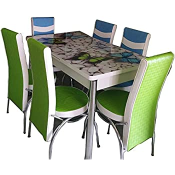 Loyal Furnitures Bebble Butterfly 6 Seater Extendable Digital Print Tempered Glass Top Dining Table Set With 6 Chairs Amazon In Home Kitchen