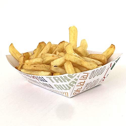Extiff - Pack de 200 bandejas de cartón Blanco con Letra, Patata frita o Ensalada (240gr)