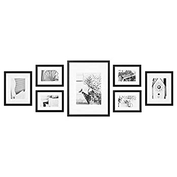 Gallery Perfect 7 Piece Black Photo Kit with Decorative Art Prints & Hanging Template Gallery Wall Frame Set Multi Size