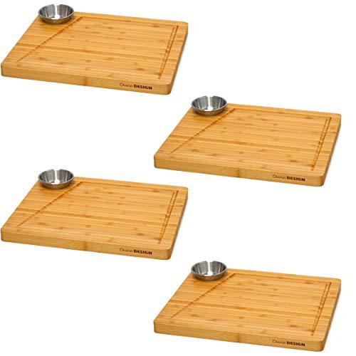 DuneDesign Juego de 4 - Tabla de Servir Bambú y Tazón de Salsa 30x25cm Plato de Madera para Bistec
