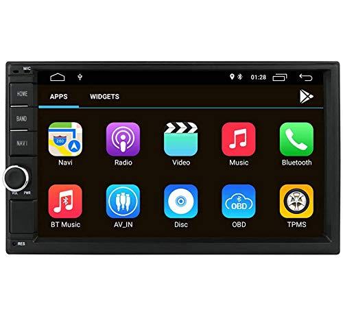 Reproductor multimedia para automóvil Radio para automóvil Navegación GPS, hizpo Pantalla táctil de 7 pulgadas Android 10 OS 2GB RAM In Dash Reproductor multimedia Wifi BT Soporte DAB + / TV digital