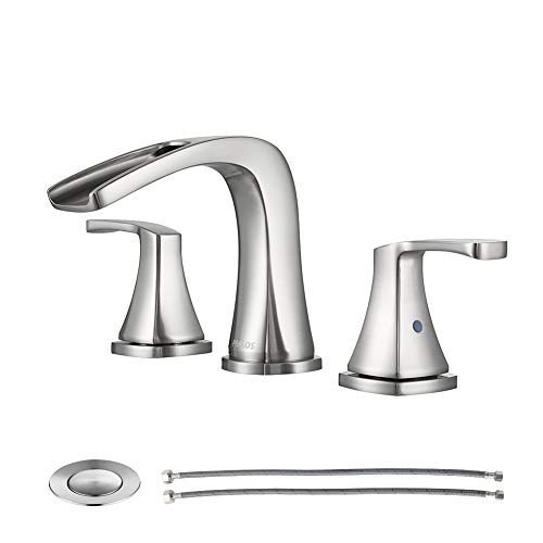 PARLOS Waterfall Widespread Bathroom Faucet Double Handles with Metal Pop Up Drain & cUPC...