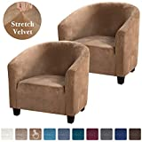 High Stretch Sofa Cover Velvet Tub Chair Cover Skid Resistance Furniture Protector Stretch Fabric Super Soft Couch Slipcover (2 Pack, Camel)