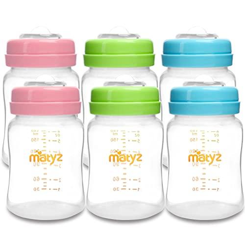 Matyz 6-Pack Breast Milk Storage Bottles (6oz, 3 Colors) - Wide Neck Breastmilk Collection and Storage Bottle - Formula Storage Bottles Compatible with Medela Avent Spectra Pumps
