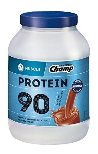 Champ Muscle Protein 90 Eiweißshake (780 g) – Protein Shake mit Schoko-Geschmack – Eiweißpulver mit 36 g Protein pro Portion – enthält Vitamine – ohne Aspartam