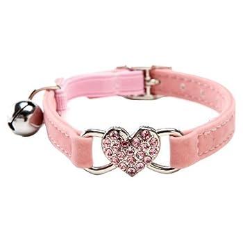 des Tchouktches Rose en velours doux Safe Chat Collier réglable avec cristal Charm en forme de cœur et grelots 8–27,9cm (Noir + Rouge)