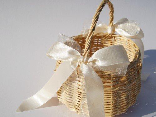 Hochzeitsservice Marriage Day Blumenkinderkörbchen Natur, Klassik-, Elfenbein, Blumenkinderkorb Streukörbchen zur Hochzeit