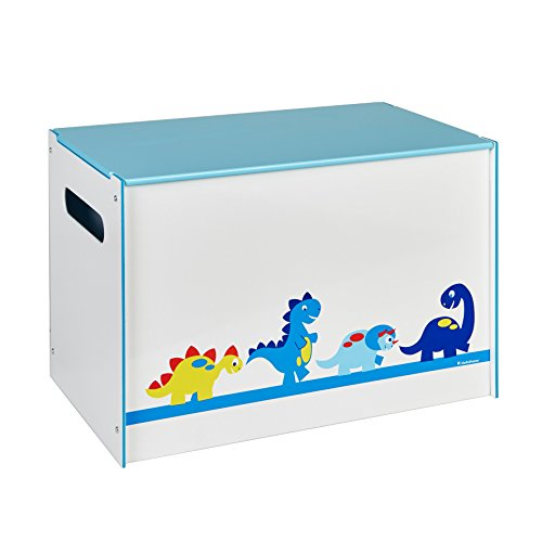 Worlds Apart Dinosaurs Kids Toy Box - Childrens Bedroom Storage Chest with Bench Lid by HelloHome, White, 39.5x39.5x60.0 cm
