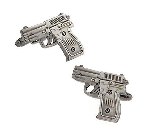 Ashton and Finch 9mm Pistole Manschettenknöpfe in Einer luxuriösen Präsentationsbox. Neuheit, Schießen, Militär Thema Schmuck
