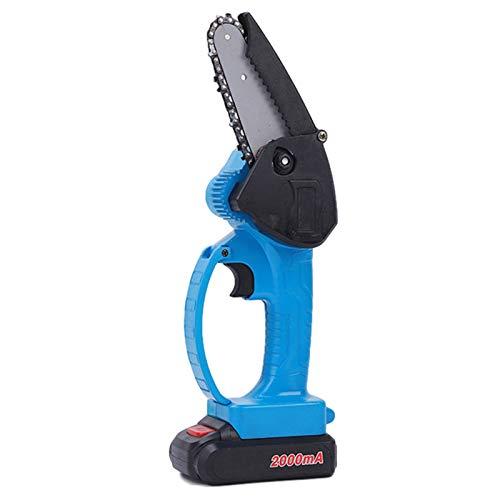 Motosierra inalámbrica de 24 V, sierra de poda eléctrica portátil de 10,16 cm, recargable alimentada por batería de velocidad variable de mano (U,Azul)