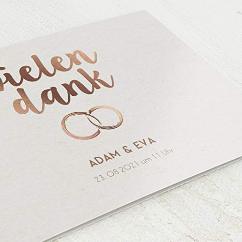 sendmoments Dankeskarten Hochzeit, Ringe, 5er Klappkarten-Set C6, personalisiert mit Wunschtext & persönlichen Bildern, optional mit passenden Design-Umschlägen