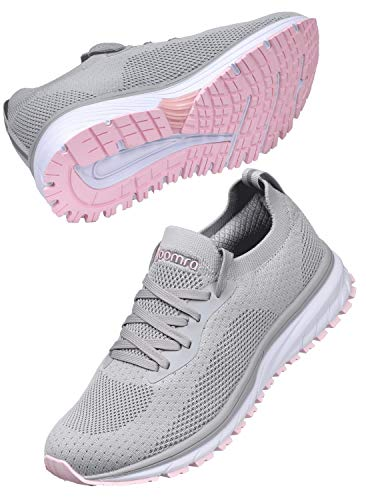 JOOMRA Women Gym Tennis Shoes Casual Ladies Grey Lightweight Size 10 Slip on Fitness Female Walking Street Running Daily Basic Knit Sock Sneakers 41