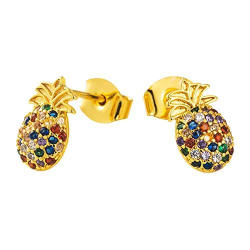 Nobranded Pendientes de Piña de Frutas para Mujer, Pendientes Colgantes de Oro de 18 Quilates para Niñas