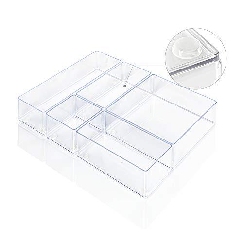 Lilly Things Anti-RUTSCH Schubladen Ordnungssystem (5-teilig Set A, transparent) Schubladen Organizer Schubladeneinsatz Aufbewahrungsbox für Make-Up Kosmetik Schminktisch Schreibtisch Büro Bad Küche