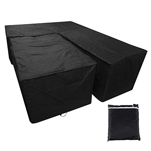 bottlewise L-shaped Garden Furniture Covers Waterproof Dustproof Outdoor Heavy Duty Patio Corner Sofa Couch Protector Cover (Black 1Set, 215X215X87CM+155x95x68CM)