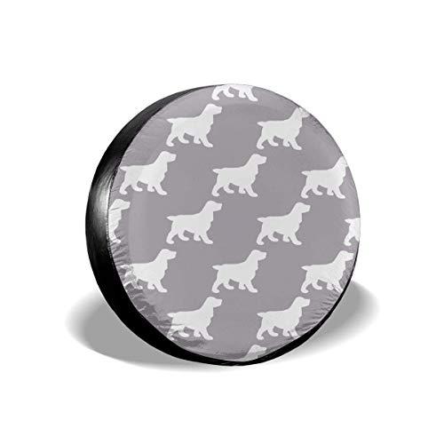 WCHAO Cubierta de neumático de Repuesto, Coker Spaniels Gris Claro sobre Fondo Gris Oscuro Cubiertas de Rueda Impermeables a Prueba de Polvo