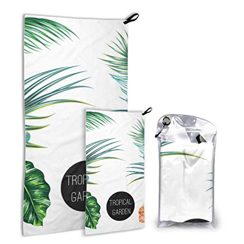 N\A Tropical Graphic Palm Green Leaves 2 Pack Microfiber Girls Beach Serviettes Beach Serviette Family Set Fast Drying Best for Gym Travel Backpacking Yoga Fitnes