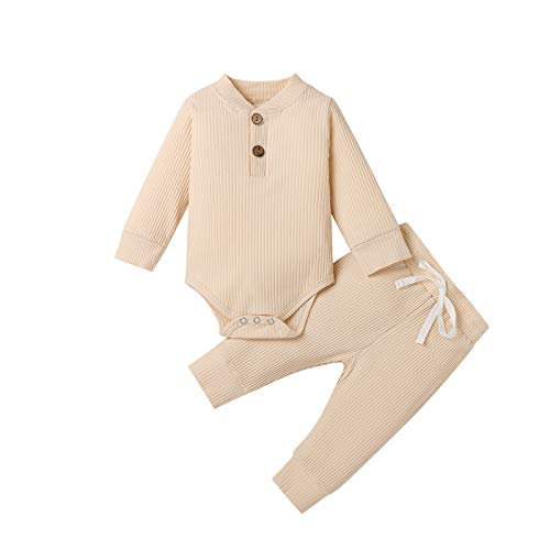 Neugeborene Unisex 2 Stück Baby Kleidung Junge Mädchen Solid Button Bodysuit Strampler Langarm Tops Kordelzug Hosen Strick Outfit (Aprikose, 0-3 Monate)