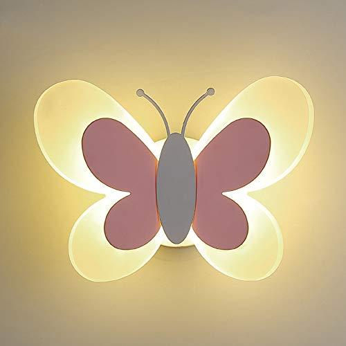 LEAPA Papillon Enfants Applique Murale LED Source Lumière Murale Matériau Acrylique Lampe Murale, Pour Chambre D'enfant Salon Décoration Éclairage Mural, Rose, Blanc Lumière