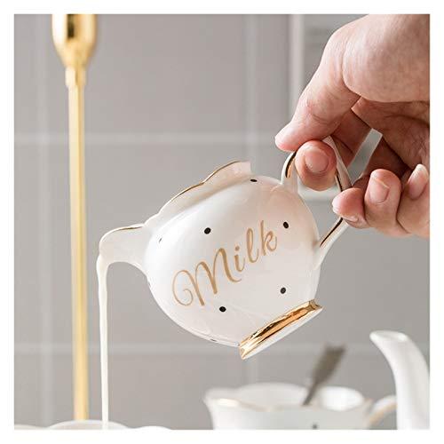 Tazas De Café,Azas De Café Con Plato Bandeja de té linda de la taza de café del platillo Juego de té Pot Jarra de leche Azúcar Pot Set reutilizables Latte Cappuccino Copas 180ml (Color : Milk Jug)